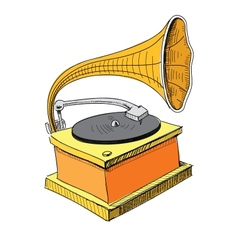 Vintage gramophone isolated on white vector