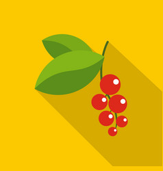 Red currants branch with green leaves icon vector