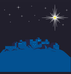 Night bethlehem and christmas star vector