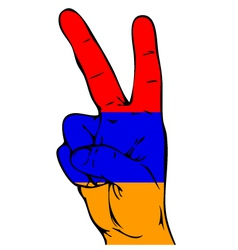 Peace sign of the armenian flag vector