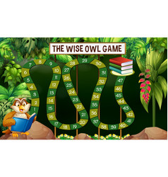 Game template with owl reading book in jungle vector