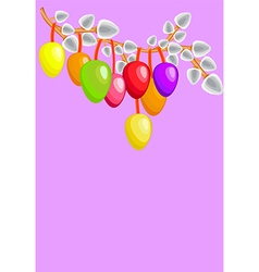 Easter colored eggs with willows vector