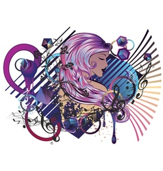 Music girl6 vector