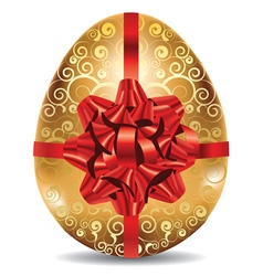 Golden egg with red bow2 vector