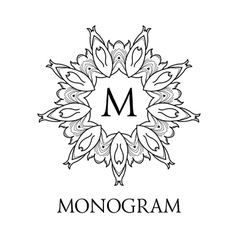Monogram design floral outline frame or vector
