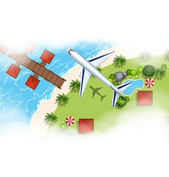 Aerial scene of airplane flying over land vector