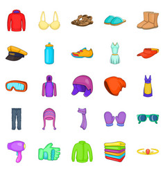 Accessories icons set cartoon style vector