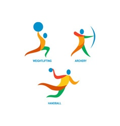 Archery weightlifting handball icon vector