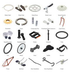 Bike parts icons set isometric style vector