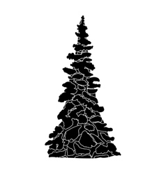 Black and white christmas tree silhouette vector