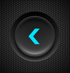 Black button with blue fast backward sign on vector
