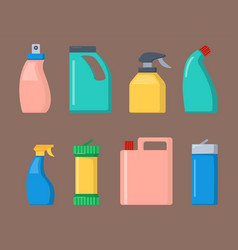 bottles of household chemicals supplies cleaning vector image vector image