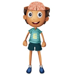Boy with brain inside his head vector image vector image
