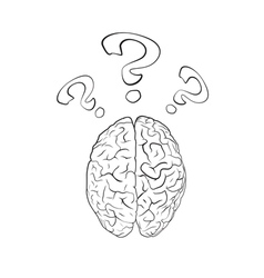 Brain with question mark vector
