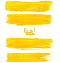 Bright yellow acrylic brush strokes vector image vector image