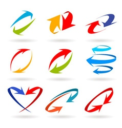Colorful 3d arrows set vector image vector image