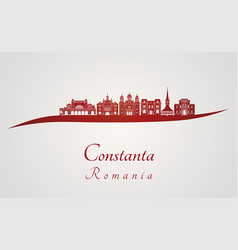 Constanta skyline in red vector