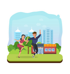 couple dancing in park on backdrop of cityscape vector image vector image