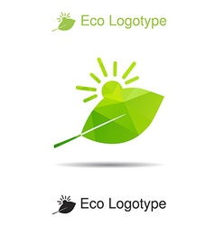 Ecology logotype icon and nature symbol sun and vector