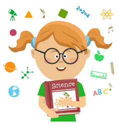 elementary school girl holding science book vector image vector image