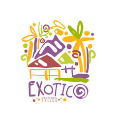 exotic summer vacation colorful travel logo vector image vector image