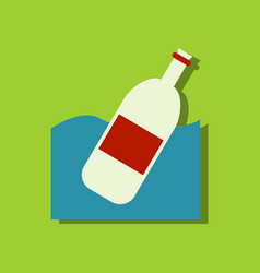 flat icon design collection bottle in the ground vector image