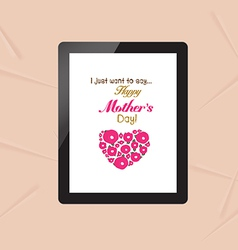Happy mothers with greeting card in tablet vector
