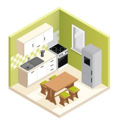 Miniature apartment kitchen vector