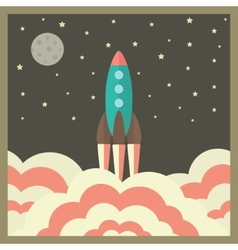Rocket takes off at night and business startup vector