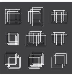 Set of 9 geometric shapes squares and lines for vector image