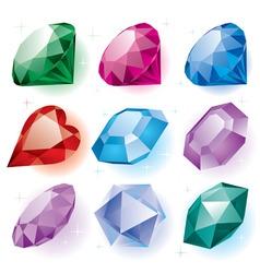 set of diamonds vector image vector image