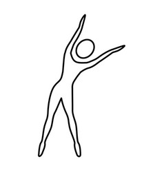 silhouette woman stretching side right vector image vector image