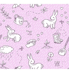 Spring doodles seamless pattern vector image vector image