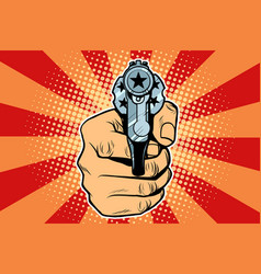 star revolver in hand vector image vector image