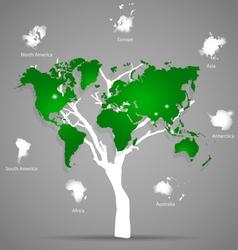 Tree shaped world map vector image