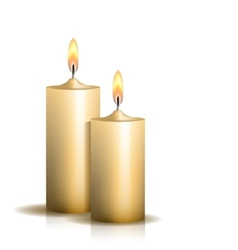 Two burning candles on white background vector
