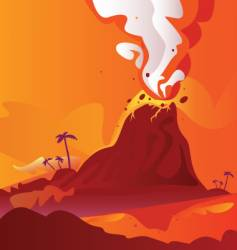volcano with burning lava vector image vector image