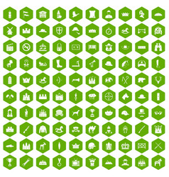 100 horsemanship icons hexagon green vector