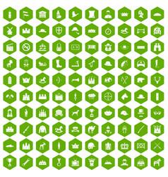 100 horsemanship icons hexagon green vector