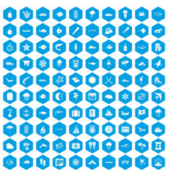 100 marine environment icons set blue vector