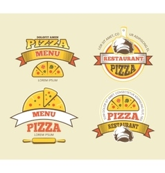Pizza labels logos badges emblems for vector image