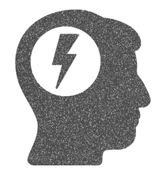 Brain electric shock grainy texture icon vector