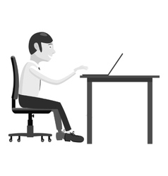Manager works at table icon gray monochrome style vector