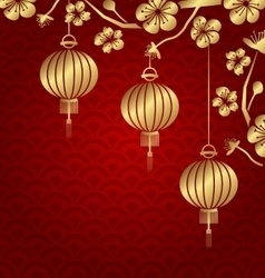 Japanese or chinese golden background with vector