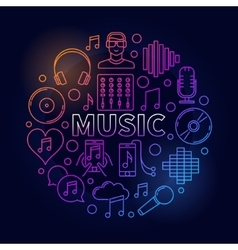 Music dark round vector image