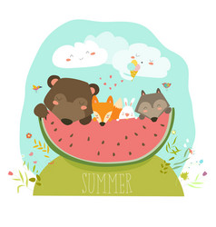 Cute animals eating watermelon slice hello summer vector