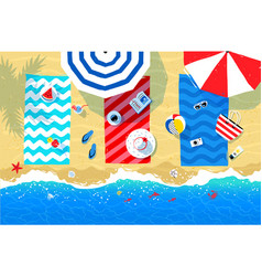 beach mats and accessories on sand vector image