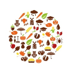 Autumn icons in circle vector