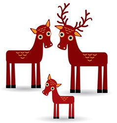 Deer and fawn set of funny animals with cubs on vector
