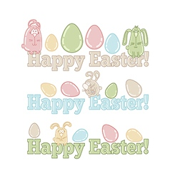 Set of easter symbols - eggs bunnies greeting vector